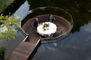 Pond with a sunken sitting area