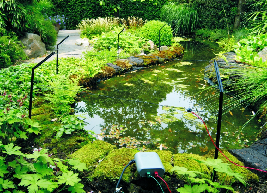 Pond protection and security device for your pond velda for Fish pond protection